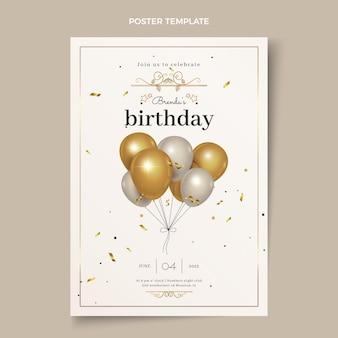 Affiche d'anniversaire dorée de luxe réaliste