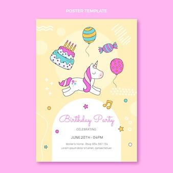 Affiche d'anniversaire enfantine dessinée à la main