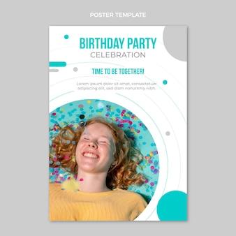 Affiche d'anniversaire minimale design plat