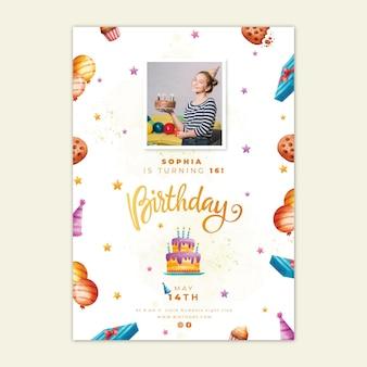 Affiche d'anniversaire avec modèle de gâteau