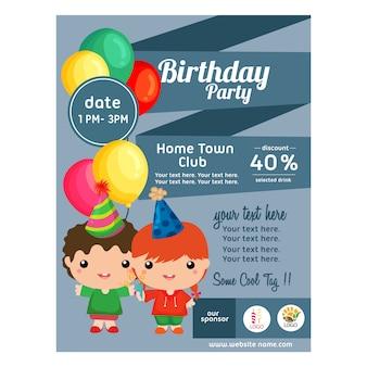 Affiche anniversaire avec style plat de décoration de ruban enfants mignons