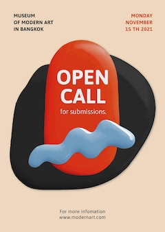 Affiche d'annonce abstraite de peinture de couleur de vecteur de modèle d'appel ouvert d'artiste