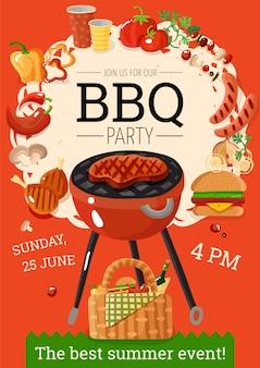 Affiche d'annonce de fête de barbecue