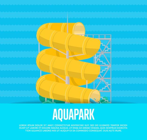 Affiche aquapark avec toboggan