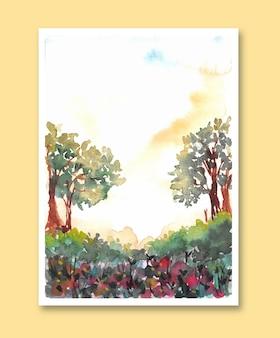 Affiche Aquarelle De La Forêt Naturelle Vecteur Premium