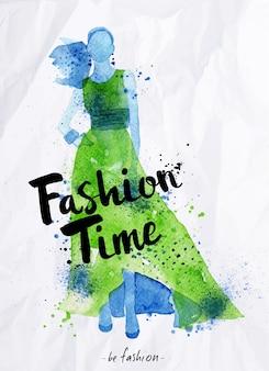 Affiche aquarelle lettrage temps de mode