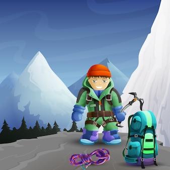 Affiche d'arrière-plan de personnage de dessin animé de grimpeur de montagne
