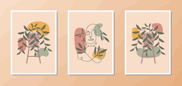 Affiche d'art mural boho esthétique d'un beau portrait d'art en ligne de femme avec une décoration végétale esthétique