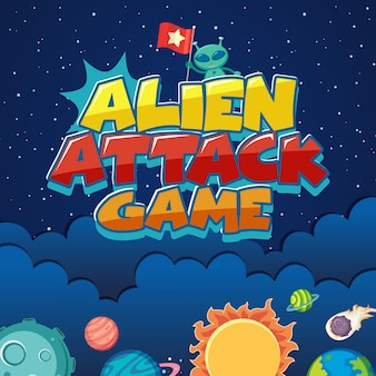 Affiche avec attaque extraterrestre dans l'espace