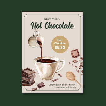 Affiche au chocolat avec boisson chaude au chocolat, illustration aquarelle