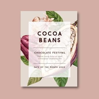Affiche au chocolat avec ingrédients cacao branche, illustration aquarelle