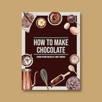 Affiche au chocolat avec des ingrédients faisant barre de chocolat cassé, illustration aquarelle