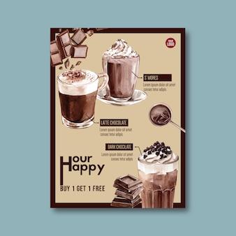 Affiche au chocolat avec des ingrédients pour boisson au chocolat chaud