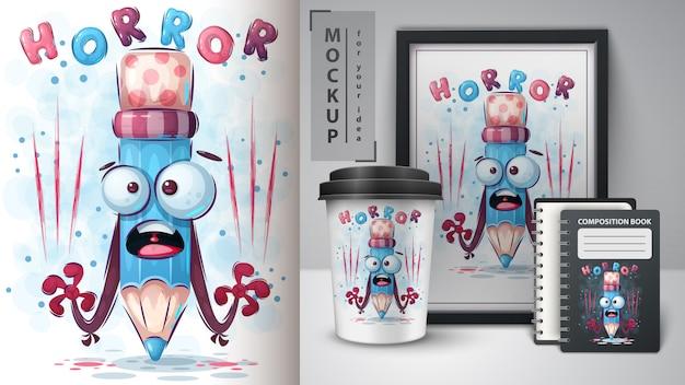 Affiche au crayon d'horreur et merchandising