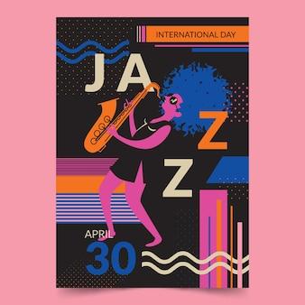 Affiche au design plat pour la journée internationale du jazz