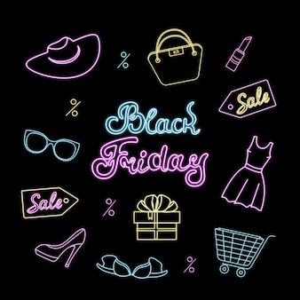 Affiche au néon pour le black friday. conception de modèle pour la remise, le bon, la bannière d'achat et les ventes saisonnières.