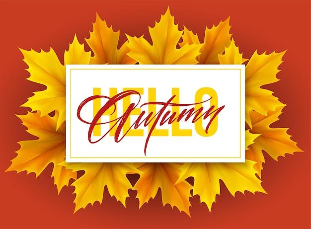 Affiche d'automne avec lettrage et feuilles d'érable d'automne jaunes. illustration vectorielle eps10