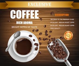 Affiche avec une tasse de café, conception de colis