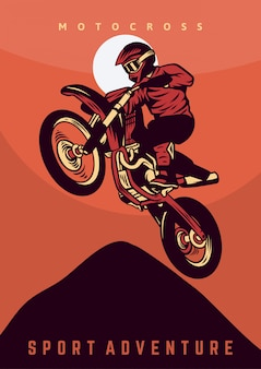 Affiche d'aventure sportive de motocross