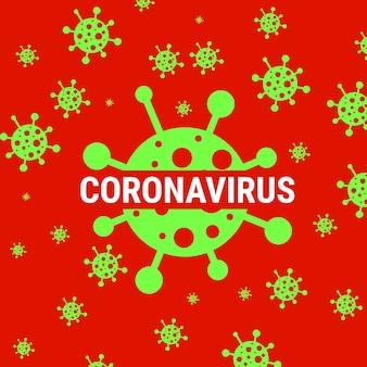 Affiche d'avertissement de coronavirus rouge avec l'icône covid 19