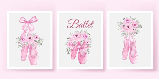Affiche de ballerine de chaussures avec ensemble aquarelle rose rose