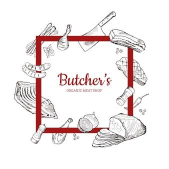Affiche baner avec éléments de viande monochromes dessinés à la main