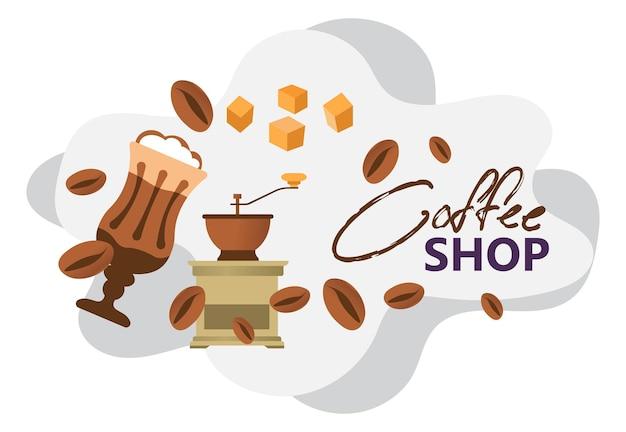 Affiche ou bannière de café avec des haricots aromatiques