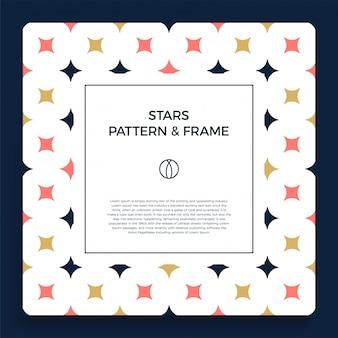 Affiche, bannière ou carte bordure de cadre avec motif d'étoile de couleur tendance ornementale.