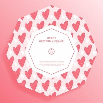 Affiche, bannière ou carte cadre frontière avec main d'amour dessiner motif coeur couleur tendance.
