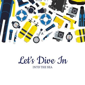 Affiche de bannière d'équipement de plongée sous-marine dans un style plat