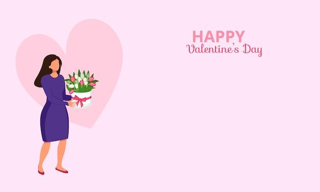 Affiche ou bannière avec une femme tenant des fleurs avec un coeur et l'inscription joyeuse saint valentin a...