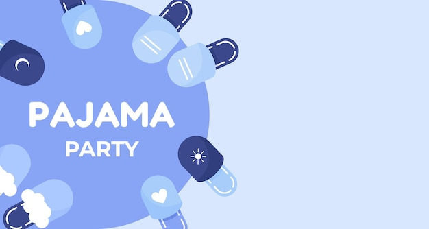 Affiche ou bannière de fête de pyjama avec des pantoufles au design plat