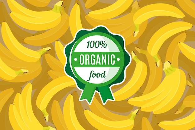 Affiche ou une bannière avec illustration de fond de banane tropicale jaune et étiquette alimentaire biologique verte ronde