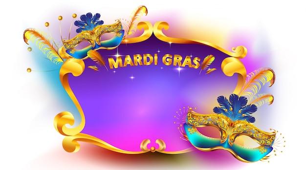 Affiche et bannière de masque de carnaval de mardi gras