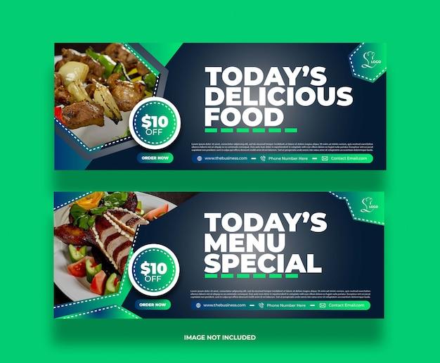 Affiche de bannière de médias sociaux de restaurant délicieux de nourriture moderne créative