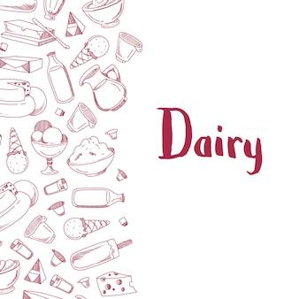 Affiche bannière avec des produits laitiers esquissés avec la place pour le texte