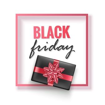 Affiche ou bannière de promotion de vente du vendredi noir en noir et rouge modèle de promotion et d'achat