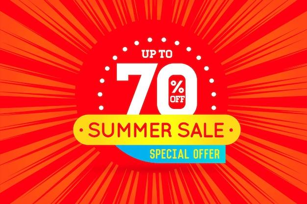Affiche de bannière de signe de vente d'été prête pour le web et l'impression. vecteur. super, méga, vente énorme avec offre spéciale