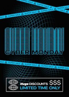 Affiche de bannière de typographie bleue cyber monday ou modèle de flayer fond de grille de décoloration créative concep...