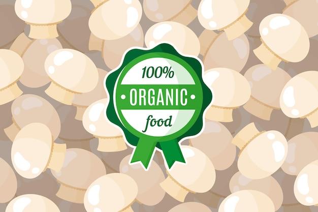 Affiche ou bannière vectorielle avec illustration de fond de champignons champignons et étiquette ronde verte d'aliments biologiques