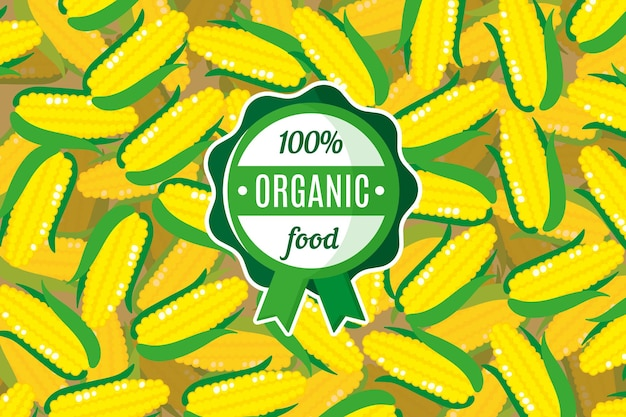 Affiche ou bannière vectorielle avec illustration de fond de maïs jaune et étiquette ronde verte d'aliments biologiques