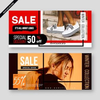 Affiche de bannière de vente abstraite moderne