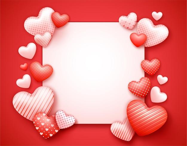 Affiche ou bannière de vente réaliste saint valentin avec un espace pour le texte