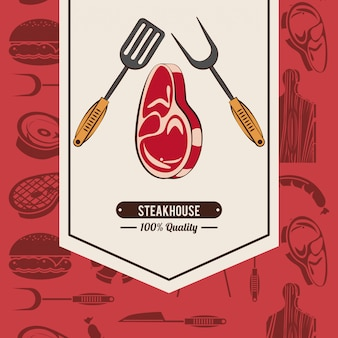 Affiche de barbecue steakhouse