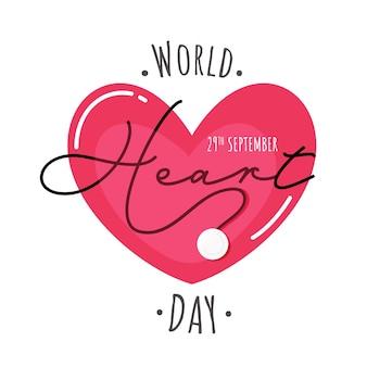 Affiche basée sur le concept de la journée mondiale du cœur