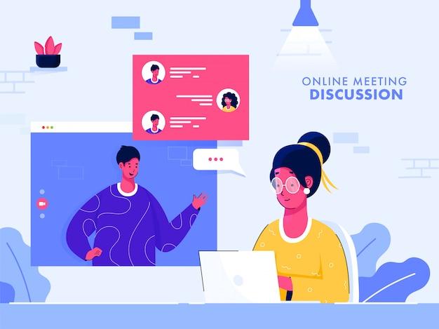 Affiche basée sur la discussion de réunion en ligne, illustration de la femme ayant une vidéoconférence avec des collègues dans un ordinateur portable.