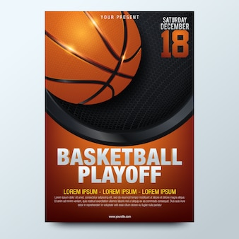 Affiche de basketball avec ballon de basket