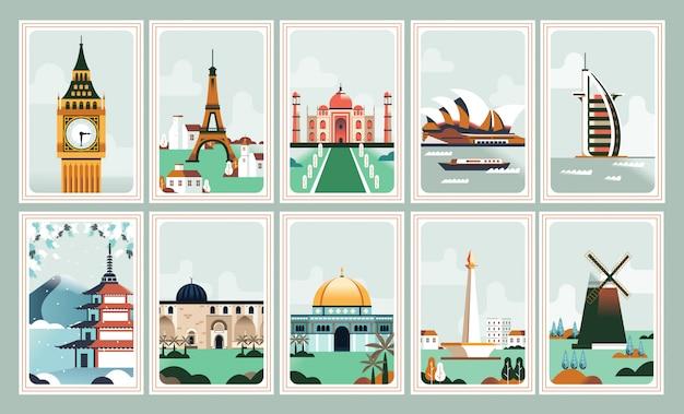 Affiche de bâtiment emblématique et timbre-poste