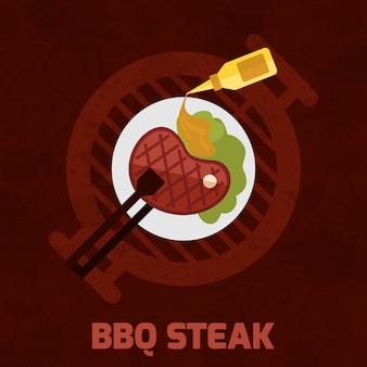 Affiche de bbq steak