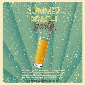 Affiche beach party des consommateurs retro